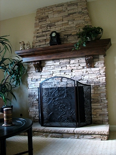 Eldorado Stone face fireplace - Click here for larger view