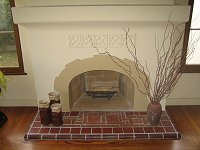 Custom Masonry Plaster Fireplace with tile