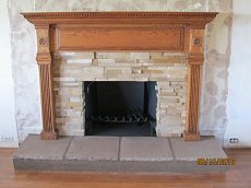 True Stone veneer face with oak mantle - Click here for larger view