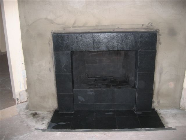 Black Slate Tile Face Fireplace And Hearth