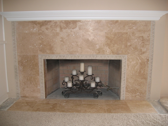 Travertine Tile Face Fireplace And Hearth Completed Project With Custom Wood Mantel Additional Decorative